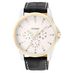 【CITIZEN 星辰】石英男錶 石英男錶 皮革錶帶 白 防水50米(AG8344-06A)