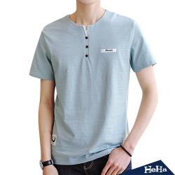 HeHa-造型鈕扣小V領短袖T恤上衣 三色