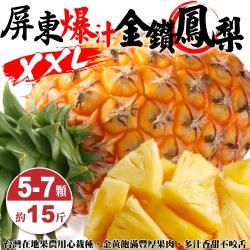 果農直配-嚴選屏東17號金鑽鳳梨(5-8顆/15斤±10%含箱重)