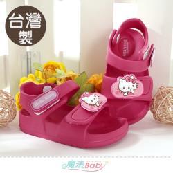 魔法Baby 女童鞋 台灣製Hello kitty授權正版輕量舒適涼鞋~sk1161