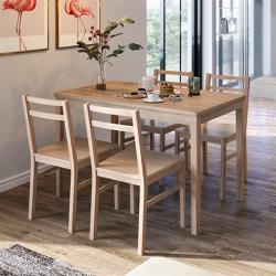 hoi!好好生活 林氏木業北歐楓木色餐桌+餐椅 LS161 (一桌四椅)