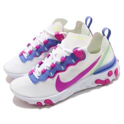 Nike 慢跑鞋 React Element 55 女鞋 輕量透氣 舒適避震 運動 球鞋 穿搭 白 粉紫 BQ2728104 [ACS 跨運動]