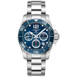 LONGINES 浪琴 深海征服者浪鬼陶瓷計時潛水機械錶-藍x銀/41mm L37834966