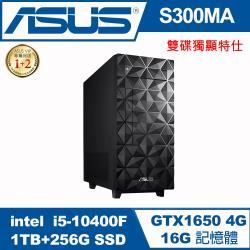 【ASUS 華碩】H-S300MA i5-10400F 雙碟獨顯桌機(i5-10400F/16G/1TB+256 SSD/GTX1650 4GB