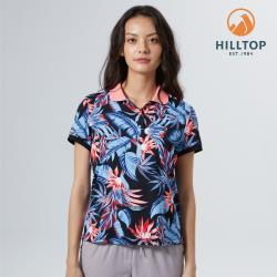 【hilltop山頂鳥】女款Polygiene抗菌吸濕快乾抗UV熱帶印花POLO衫S14FH7黑