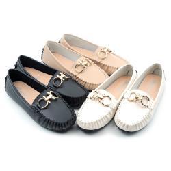 【 cher美鞋】MIT氣質金飾平底舒適豆豆鞋樂福鞋-黑色/白色/卡其色 36-40碼 1030420791-18