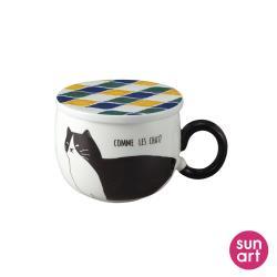 日本 sunart 馬克杯磁磚墊-黑貓(附杯墊)