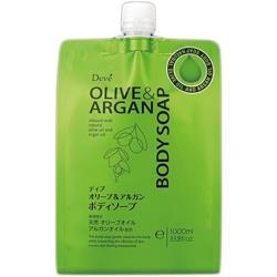日本【 熊野油脂】 DEVE 橄欖&堅果 雙效沐浴乳1000ml 補充包