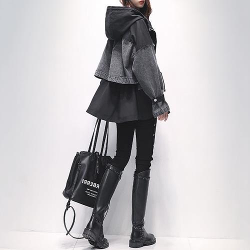 A3時尚春秋新款寬鬆時尚拼接休閒年仔外套-預購