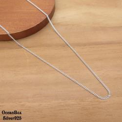 【海洋盒子】16吋.18吋。義大利製側身鍊925純銀項鍊.單鍊.外鍍專櫃級正白k.細短鍊