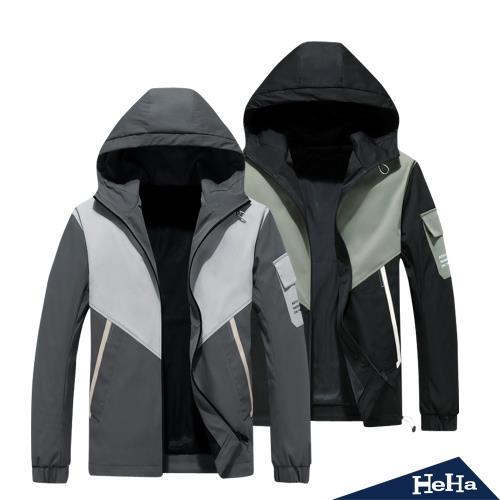HeHa-拼色連帽外套
