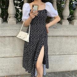 KVOLL-宮廷泡泡袖側開叉裙襬印花洋裝XL-5XL
