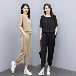 SZ-優雅休閒時尚純色運動褲套裝M-2XL(共二色)