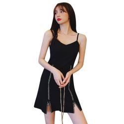 Sexy Devil-溫柔小性感裙襬拉鍊拼接吊帶洋裝L-4XL