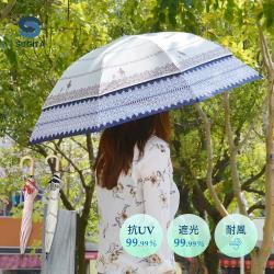 日本SUGITA 夢境愛麗絲大傘面抗風雙層抗UV伸縮傘-2色可選