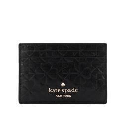 KATE SPADE Hollie 四葉草壓紋皮革卡片夾(黑色) WLRU6154 001