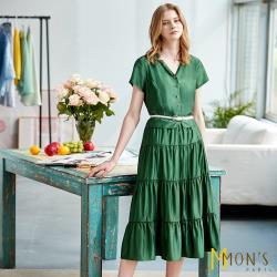 MONS優雅絲光顯瘦版型長洋裝