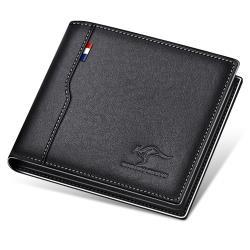 PUSH!精品新款防盜刷頭層牛皮真皮件橫款錢包卡包錢夾皮夾短款 PUSH30黑色