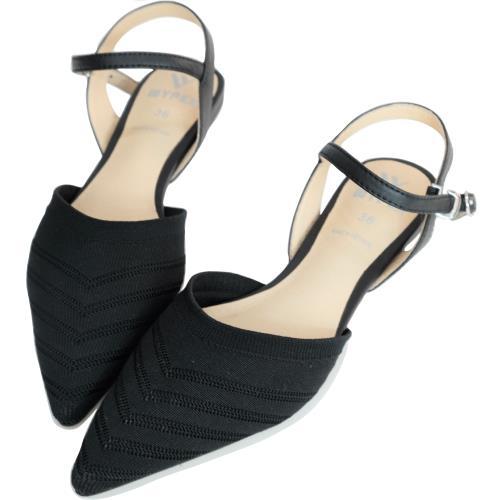 【WYPEX】美型優雅.尖頭針織低跟涼鞋