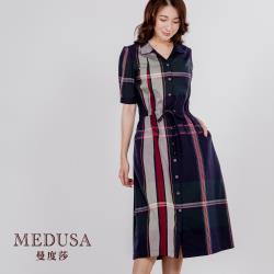 現貨【MEDUSA 曼度莎】格紋泡袖腰綁帶休閒純棉洋裝