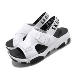 Skechers 涼拖鞋 Daddy-O-Dibs 女鞋 厚底 增高 鬆緊帶 夏日 穿搭 透氣 白 黑 163051WBK [ACS 跨運動]