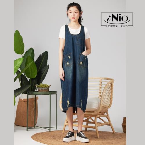 【iNio】微刷破個性牛仔吊帶裙吊帶長裙-現貨快出【C1W3004】/