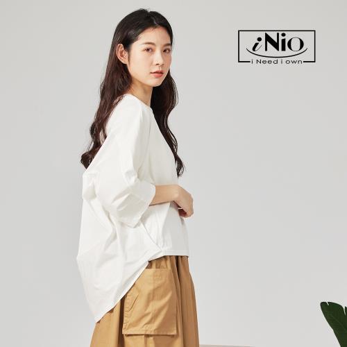 【iNio】前短後長微抓皺七分袖圓領上衣-現貨快出【C1W1003】/