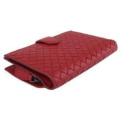 BOTTEGA VENETA   經典編織小羊皮釦式拉鍊中夾(紅色)