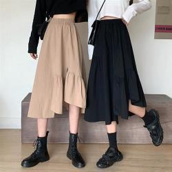 沐朵-韓風時尚不規則側開叉裙襬拼接長裙-F(共二色)