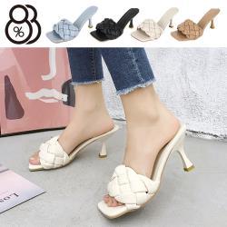 【88%】6cm跟鞋 優雅氣質編織 皮革方頭細跟鞋 高跟涼鞋