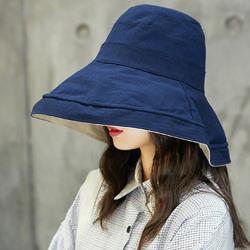 日本 BEAUTYJAPAN 抗UV可塑型雙面可戴棉質大寬檐防曬帽YF0194藏青/米