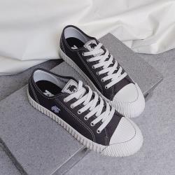 moz瑞典 駝鹿綁帶式帆布餅乾鞋(鐵灰)
