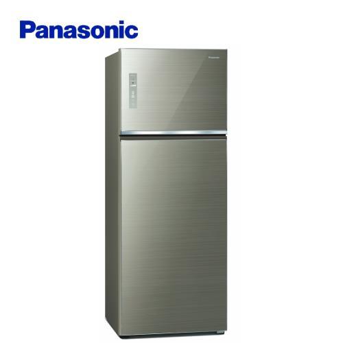 買就送韓製不沾深炒鍋+7-11商品卡1000元★Panasonic國際牌485公升一級能效雙門冰箱(翡翠金)NR-B481TG-N