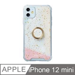 iPhone 12 Mini 5.4吋 日光幾何氣墊iPhone防摔殼 附贈同款電鍍指環支架