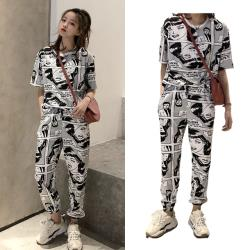 【韓國K.W.】(預購) 時尚美式塗鴉套裝褲