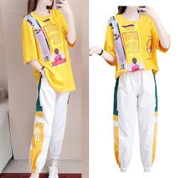 【韓國K.W.】(預購) 美式繽紛圖文套裝褲
