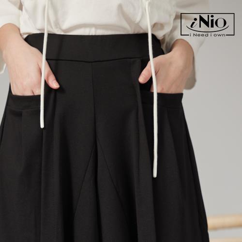 【iNio】垂墜美長版鬆緊腰舒適寬褲裙-現貨快出【C1W2021】/