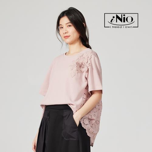 【iNio】花型裝飾後背圓洞網織短袖上衣-現貨快出【C1W1015】/