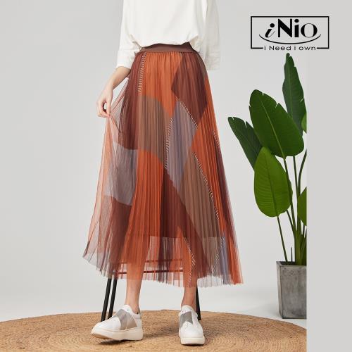 【iNio】幾何色塊鬆緊腰雙層網紗裙-現貨快出【C0W2230】/