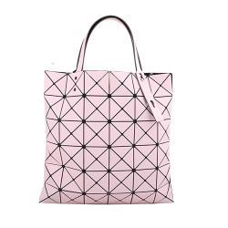 ISSEY MIYAKE 三宅一生 -   BAOBAO 幾何方格6x6雙拚色手提包(粉X橘粉)