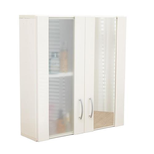 單鏡面雙門防水塑鋼浴櫃 置物櫃 1入
