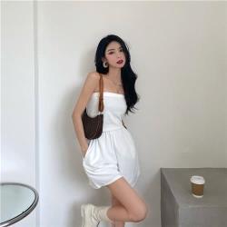 沐朵-可愛性感露肩平口連身短褲裝-F(共二色)
