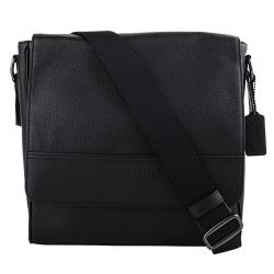 COACH壓印LOGO 荔枝紋皮革直式斜背包(黑)