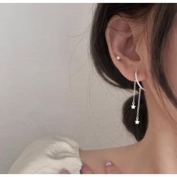 925純銀月亮吊鏈條耳環