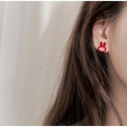 925銀紅色紅鑽小兔子耳釘