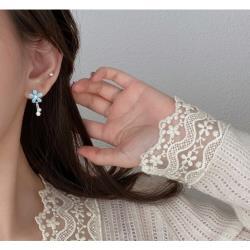 925純銀藍色花朵耳環