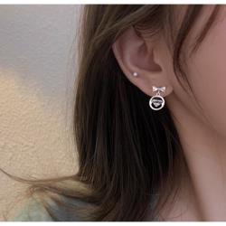 925銀閃鑽蝴蝶結吊圓圈耳環