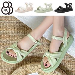 【88%】3cm涼鞋 優雅氣質蝴蝶扭結 皮革圓頭厚底扣帶涼拖鞋