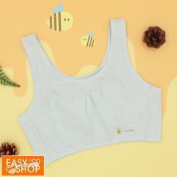 【EASY SHOP】easy body-Honeybee無鋼圈美國棉少女短背心-淡淡天空藍