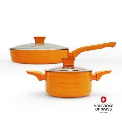 MONCROSS橫紋橘雙鍋組(炒+湯+炒蓋+湯蓋)